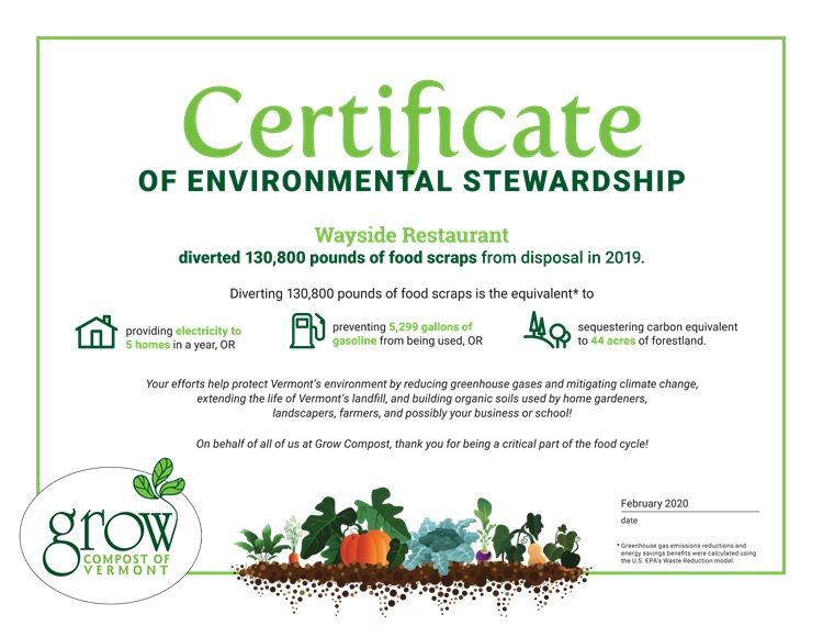 2019 Grow Compost Certificate for the Wayside Restaurant